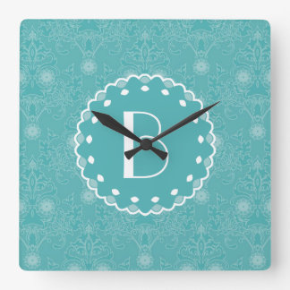 Elegant Tiffany Damask Pattern with Monogram Square Wall Clocks