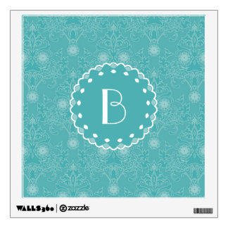 Elegant Tiffany Damask Pattern with Monogram Wall Sticker