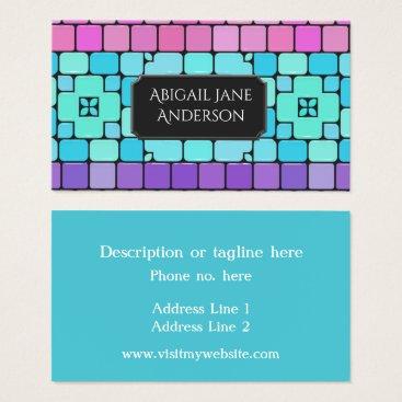Professional Business Elegant Tiles - Pink, Aqua & Purple - Customize Business Card
