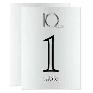 Elegant Tin 10th Anniversary Table Number