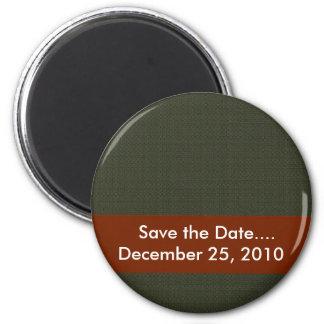 elegant tiny green damask circles on brown backgro magnets