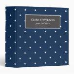 elegant tiny navy blue white polka dots pattern 3 ring binder