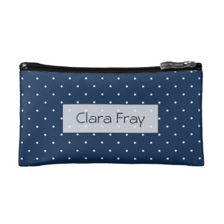 elegant tiny navy blue white polka dots pattern cosmetic bag
