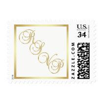 Elegant Topography RSVP Gold White US Postage