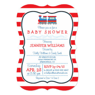 "Elegant Toy Train Baby Shower Invitation 5"" X 7"" Invitation Card"