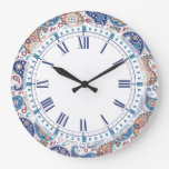 Elegant traditional blue and orange paisley print large clock
