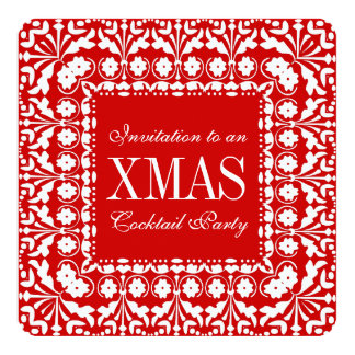 Elegant Traditional Red Christmas Cocktail Party Card