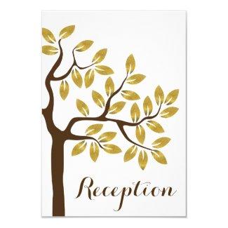 Elegant tree, gold foil leaves wedding reception 3.5x5 paper invitation card
