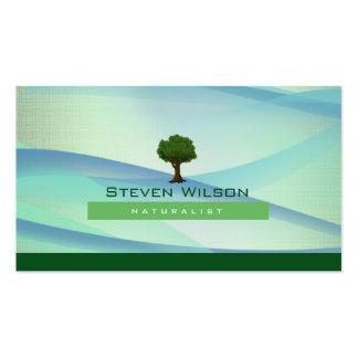 Elegant Tree Green Nature Linen Garden Landscape Business Card