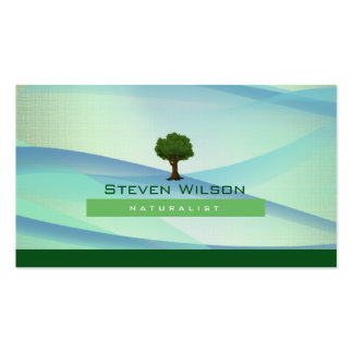 Elegant Tree Green Nature Linen Garden Landscape Double-Sided Standard Business Cards (Pack Of 100)
