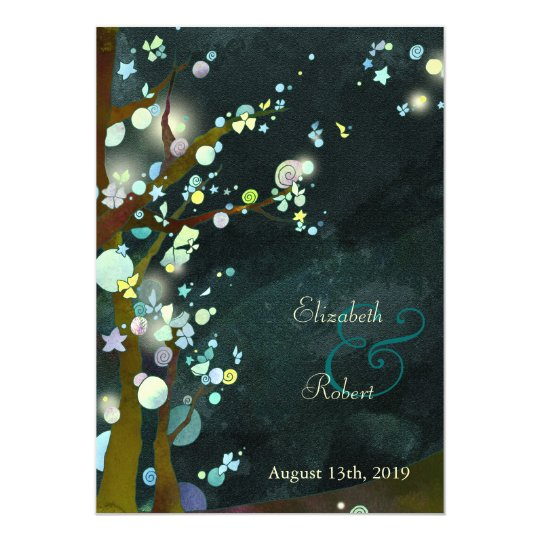 Tree Themed Wedding Ideas: Elegant Tree Theme Forest Green Wedding Invitation
