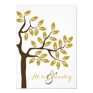 Elegant tree with gold foil leaves modern wedding 5x7 paper invitation card