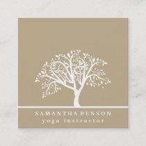 Elegant Tree Yoga Instructor Wellness Life Coach Square Business Card