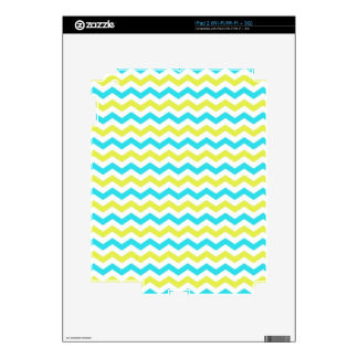 Elegant, trendy blue and lime green chevron zigzag skin for the iPad 2