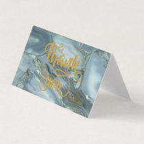 Elegant  Trendy Blue Marble Thank You Card