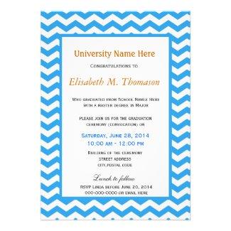 Elegant, trendy, bright blue chevron graduation custom invitations