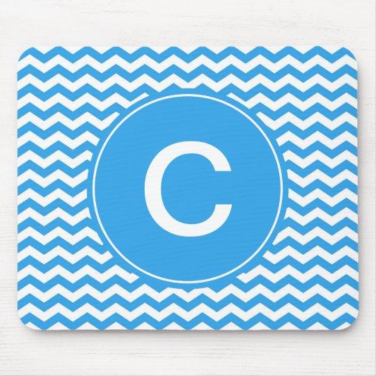 elegant, trendy, bright sky blue chevron monogram mouse pad