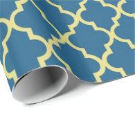 Elegant, trendy, classic navy blue quatrefoil gift wrap