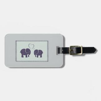Elegant trendy cute elephants in love luggage tag