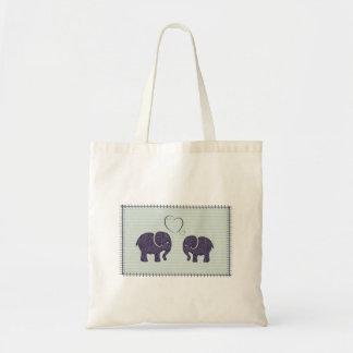 Elegant trendy cute elephants in love tote bag
