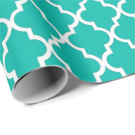 Elegant, trendy, elegant teal quatrefoil wrapping paper