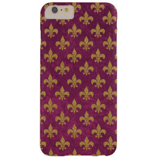 Elegant trendy faux velvet and gold Fleur-de-Lis Barely There iPhone 6 Plus Case