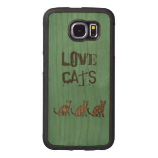 "Elegant trendy girly cute abstract cats ""love cats wood phone case"