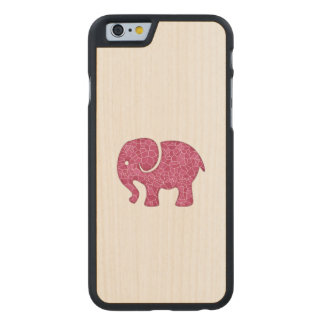 Elegant trendy girly cute elephant carved maple iPhone 6 case