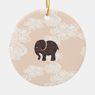 elegant trendy girly cute elephant lace ceramic ornament