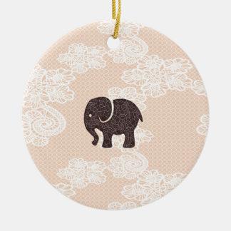 elegant trendy girly cute elephant lace Double-Sided ceramic round christmas ornament