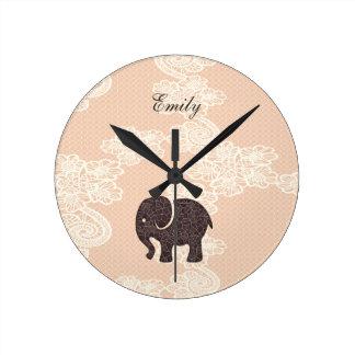 elegant trendy girly cute elephant lace round clock