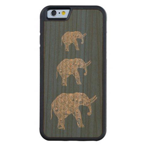 Elegant trendy girly cute elephants carved® cherry iPhone 6 bumper