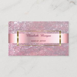 Elegant Trendy Glitter Stripe Gold Frame Business Card