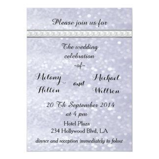 Elegant trendy glittery romantic pearls  wedding card