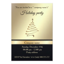 Elegant trendy gold black holiday party corporate invitation