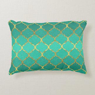 Elegant trendy gold faux glitter quatrefoil accent pillow