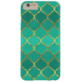 Elegant trendy gold faux glitter quatrefoil barely there iPhone 6 plus case