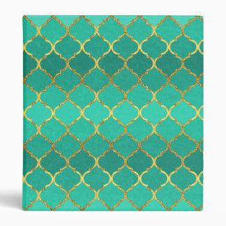 Elegant trendy gold faux glitter quatrefoil vinyl binder