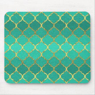 Elegant trendy gold faux glitter quatrefoil mousepads