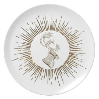 Elegant trendy holiday Christmas reindeer winter Dinner Plate