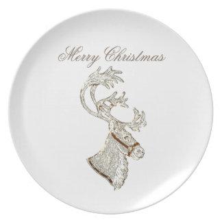 Elegant trendy holiday Christmas reindeer winter Melamine Plate