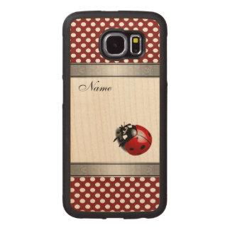 Elegant trendy  ladybug polka dots personalized wood phone case