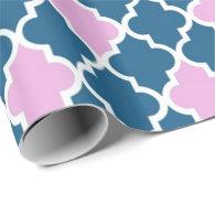 Elegant, trendy navy blue, pink quatrefoil gift wrap