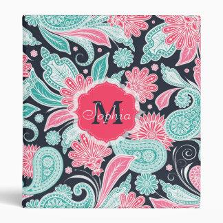 Elegant trendy paisley floral pattern illustration binder