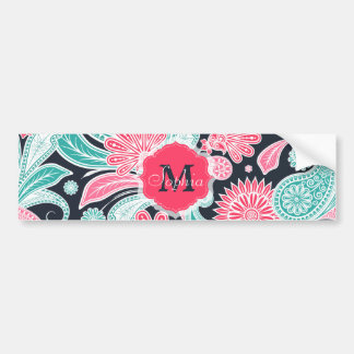 Elegant trendy paisley floral pattern illustration bumper sticker
