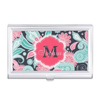Elegant trendy paisley floral pattern illustration business card cases