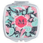 Elegant trendy paisley floral pattern illustration compact mirror