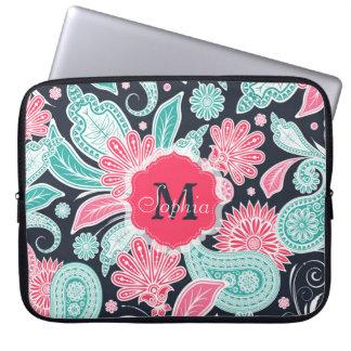 Elegant trendy paisley floral pattern illustration computer sleeves