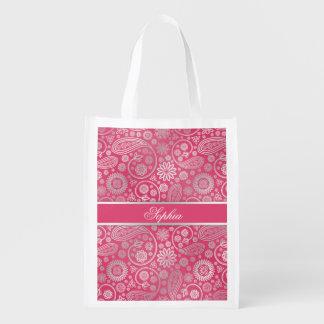 Elegant trendy paisley floral pattern illustration grocery bag
