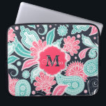 "Elegant trendy paisley floral pattern illustration laptop sleeve<br><div class=""desc"">Elegant trendy paisley floral pattern illustration, monogram, custom, light blue, peacock blue, teal, hot pink, soft pink, white, dark navy blue background colors, colorful, henna draw, flowers, nature, Indian, vintage style, ornament, shabby chic, girly, sweet, adorable, feminine, fashion, art, artwork, design, soft, modern, d&#233;cor, celebrations, special occasions, dreamy, happy, love,...</div>"